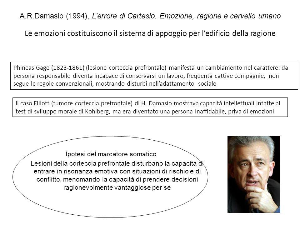 A.R.Damasio (1994), Lerrore di Cartesio. Emozione, ragione e cervello umano Le emozioni costituiscono il sistema di appoggio per ledificio della ragio