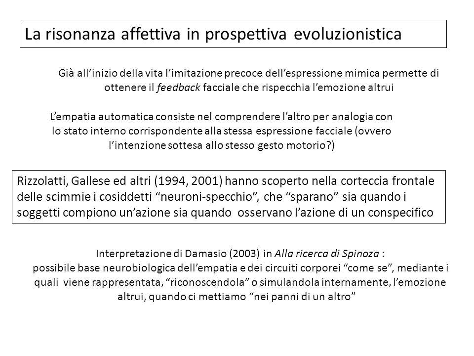 La risonanza affettiva in prospettiva evoluzionistica Già allinizio della vita limitazione precoce dellespressione mimica permette di ottenere il feed