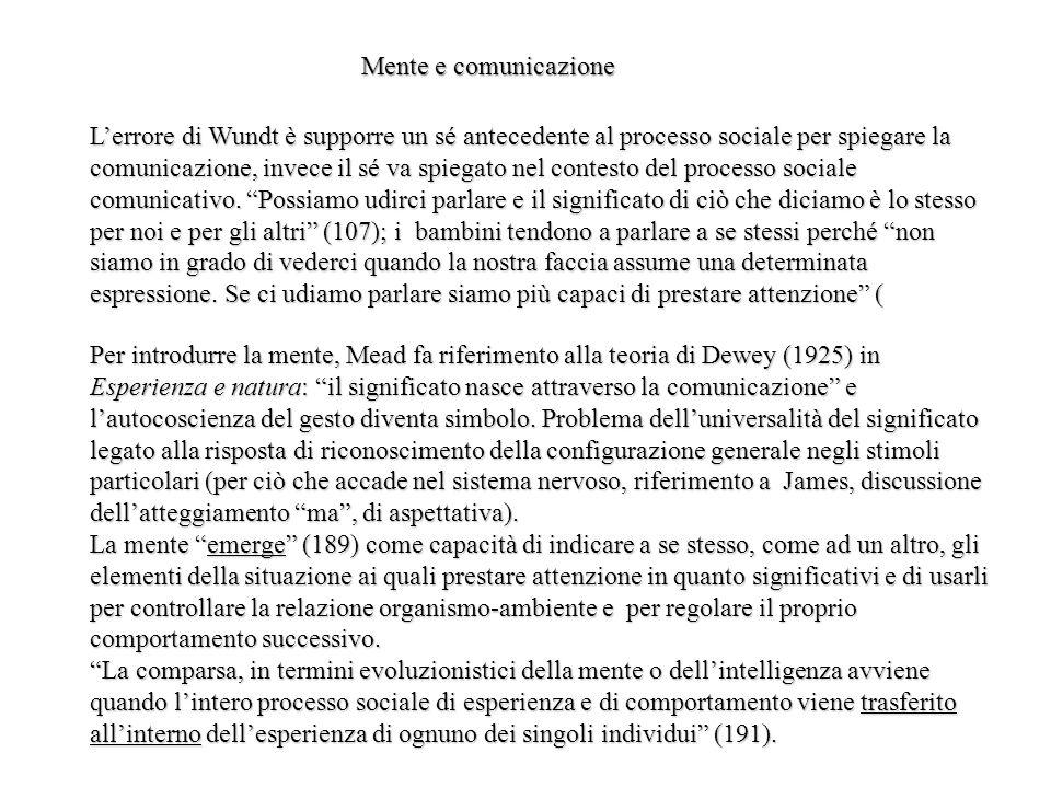 Lerrore di Wundt è supporre un sé antecedente al processo sociale per spiegare la comunicazione, invece il sé va spiegato nel contesto del processo so
