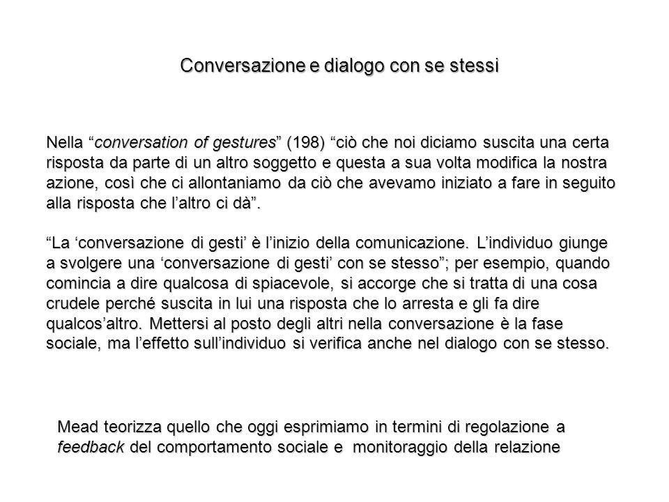 Nella conversation of gestures (198) ciò che noi diciamo suscita una certa risposta da parte di un altro soggetto e questa a sua volta modifica la nos