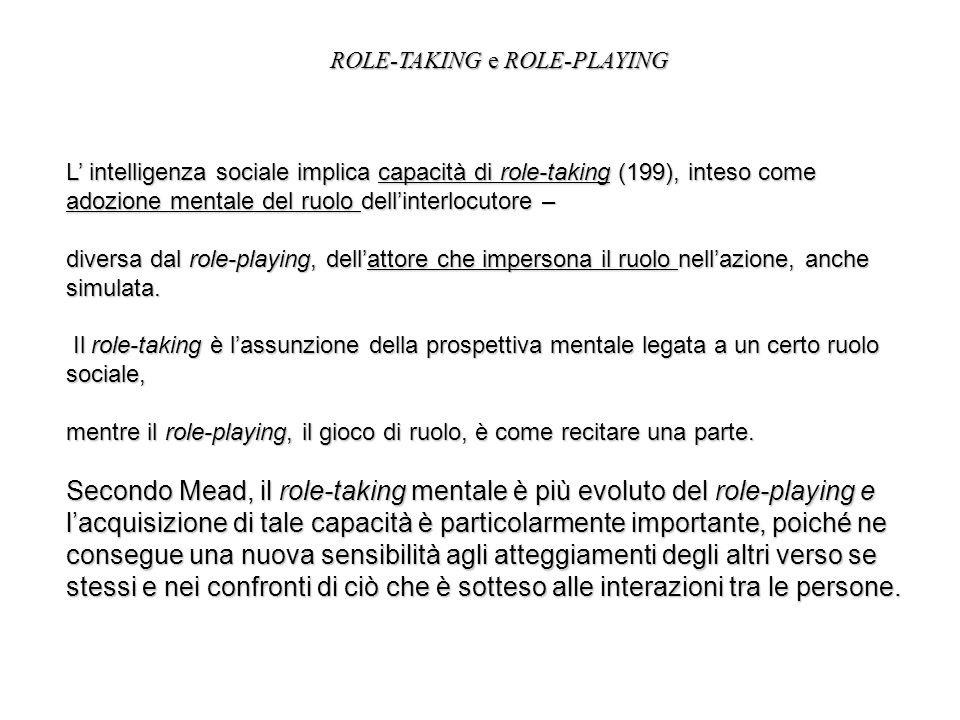 L intelligenza sociale implica capacità di role-taking (199), inteso come adozione mentale del ruolo dellinterlocutore – diversa dal role-playing, del