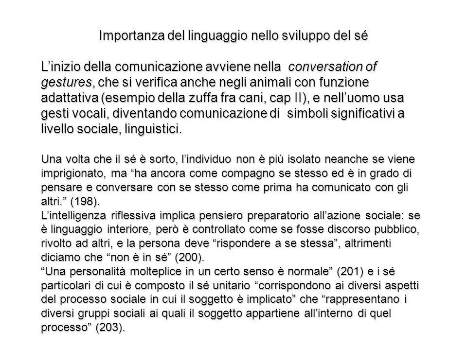 Importanza del linguaggio nello sviluppo del sé Linizio della comunicazione avviene nella conversation of gestures, che si verifica anche negli animal