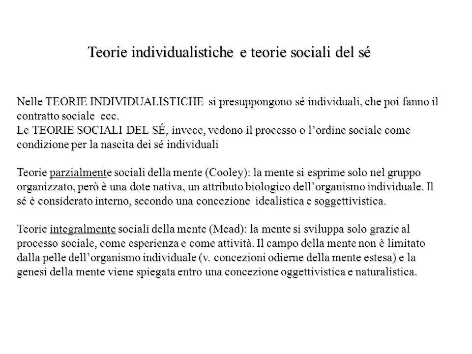 Teorie individualistiche e teorie sociali del sé Nelle TEORIE INDIVIDUALISTICHE si presuppongono sé individuali, che poi fanno il contratto sociale ec