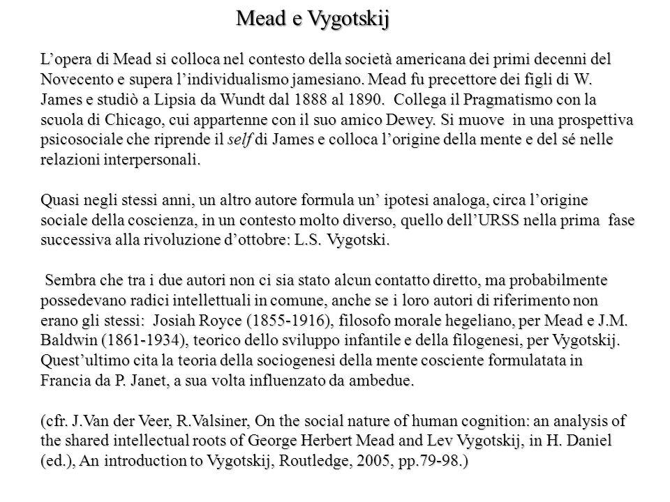 Lopera di Mead si colloca nel contesto della società americana dei primi decenni del Novecento e supera lindividualismo jamesiano. Mead fu precettore