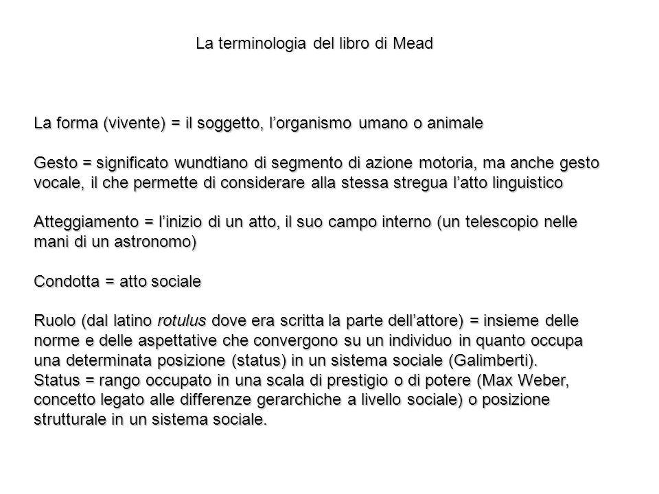 La terminologia del libro di Mead La forma (vivente) = il soggetto, lorganismo umano o animale Gesto = significato wundtiano di segmento di azione mot