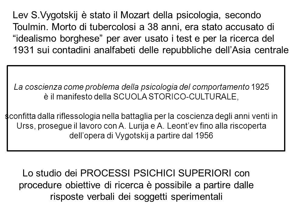 Lev S.Vygotskij è stato il Mozart della psicologia, secondo Toulmin. Morto di tubercolosi a 38 anni, era stato accusato di idealismo borghese per aver