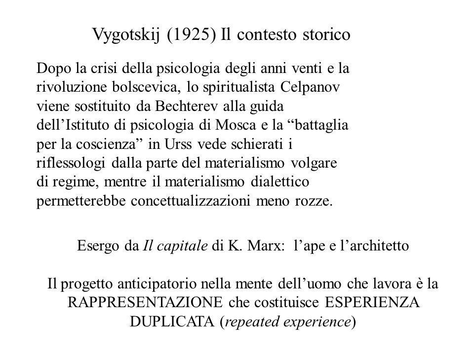 Vygotskij (1925) Il contesto storico Dopo la crisi della psicologia degli anni venti e la rivoluzione bolscevica, lo spiritualista Celpanov viene sost