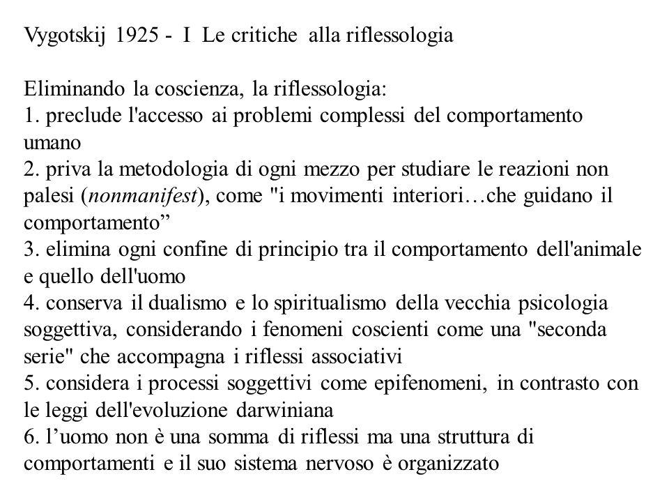 Vygotskij 1925 - I Le critiche alla riflessologia Eliminando la coscienza, la riflessologia: 1. preclude l'accesso ai problemi complessi del comportam