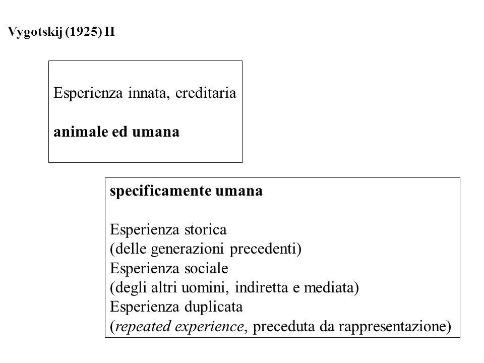 Esperienza innata, ereditaria animale ed umana specificamente umana Esperienza storica (delle generazioni precedenti) Esperienza sociale (degli altri
