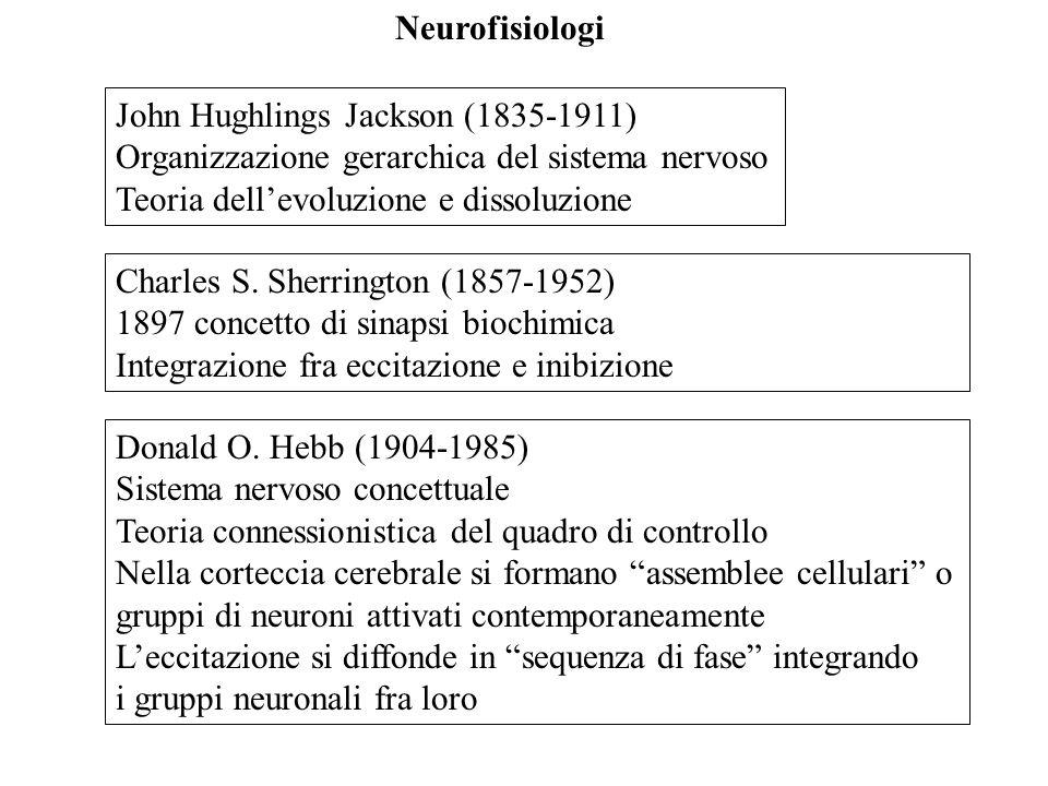 Charles S. Sherrington (1857-1952) 1897 concetto di sinapsi biochimica Integrazione fra eccitazione e inibizione John Hughlings Jackson (1835-1911) Or