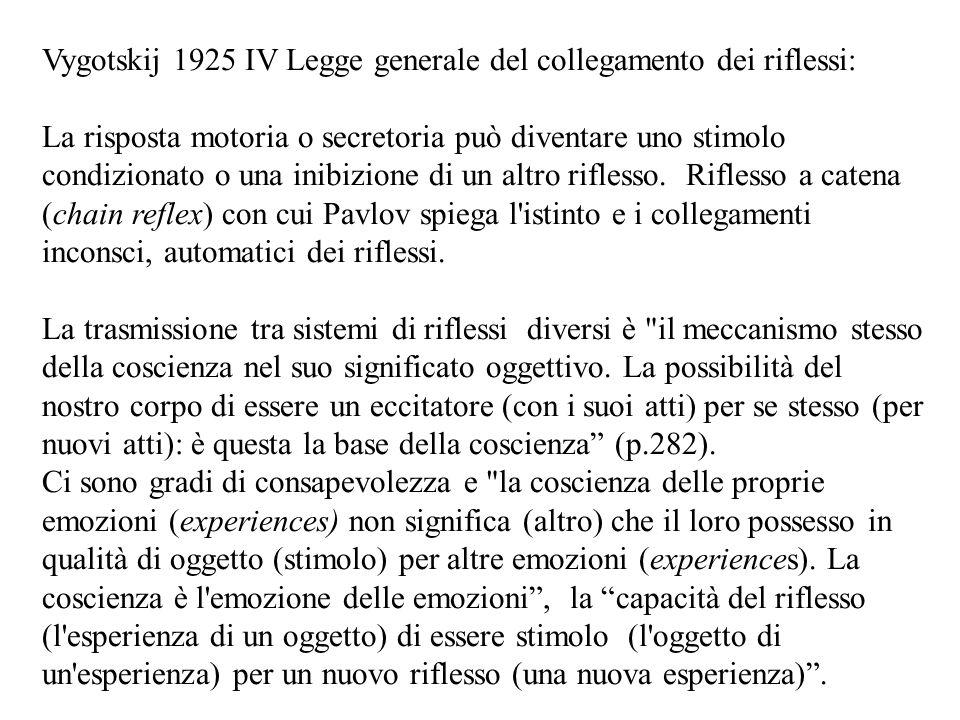 Vygotskij 1925 IV Legge generale del collegamento dei riflessi: La risposta motoria o secretoria può diventare uno stimolo condizionato o una inibizio