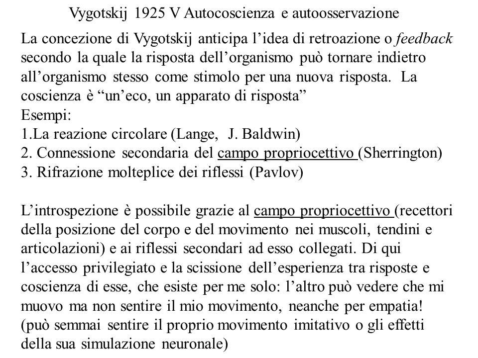 La concezione di Vygotskij anticipa lidea di retroazione o feedback secondo la quale la risposta dellorganismo può tornare indietro allorganismo stess