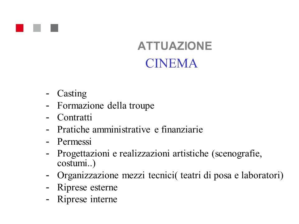 ATTUAZIONE CINEMA - Casting - Formazione della troupe - Contratti - Pratiche amministrative e finanziarie - Permessi - Progettazioni e realizzazioni a