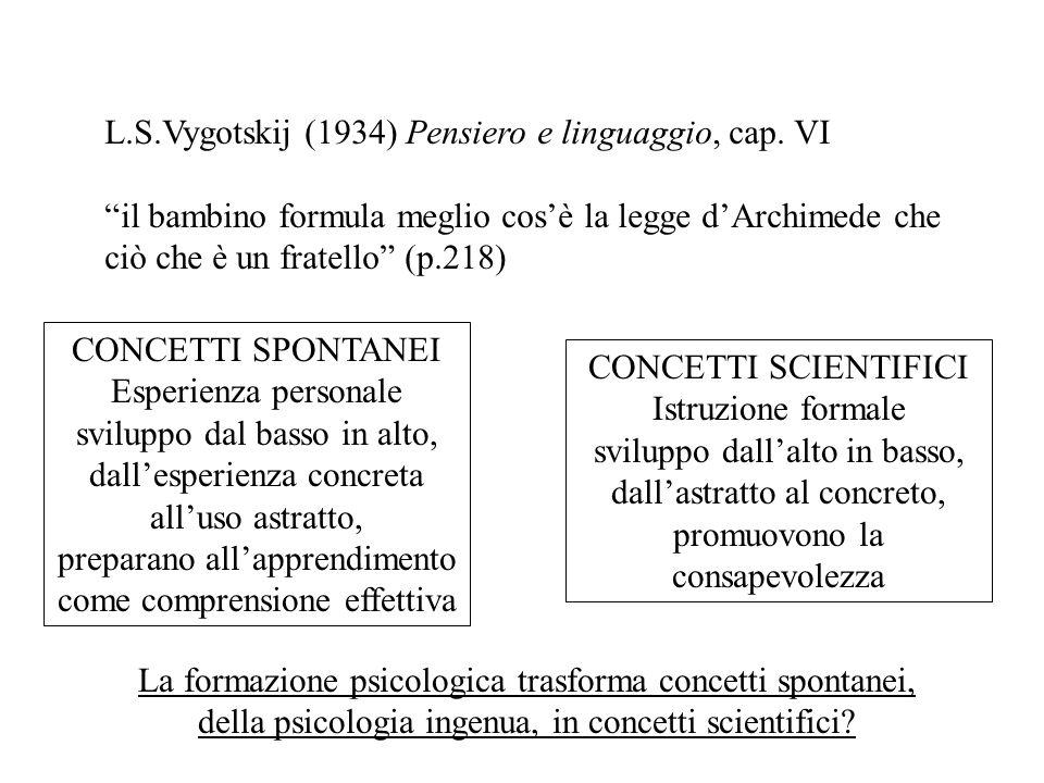 L.S.Vygotskij (1934) Pensiero e linguaggio, cap. VI il bambino formula meglio cosè la legge dArchimede che ciò che è un fratello (p.218) CONCETTI SCIE