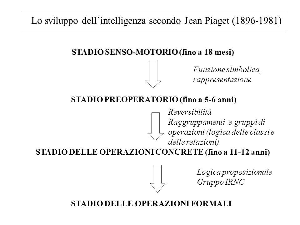 Lo sviluppo dellintelligenza secondo Jean Piaget (1896-1981) STADIO SENSO-MOTORIO (fino a 18 mesi) STADIO SENSO-MOTORIO (fino a 18 mesi) STADIO PREOPE