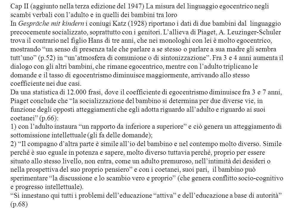 Cap II (aggiunto nella terza edizione del 1947) La misura del linguaggio egocentrico negli scambi verbali con ladulto e in quelli dei bambini tra loro