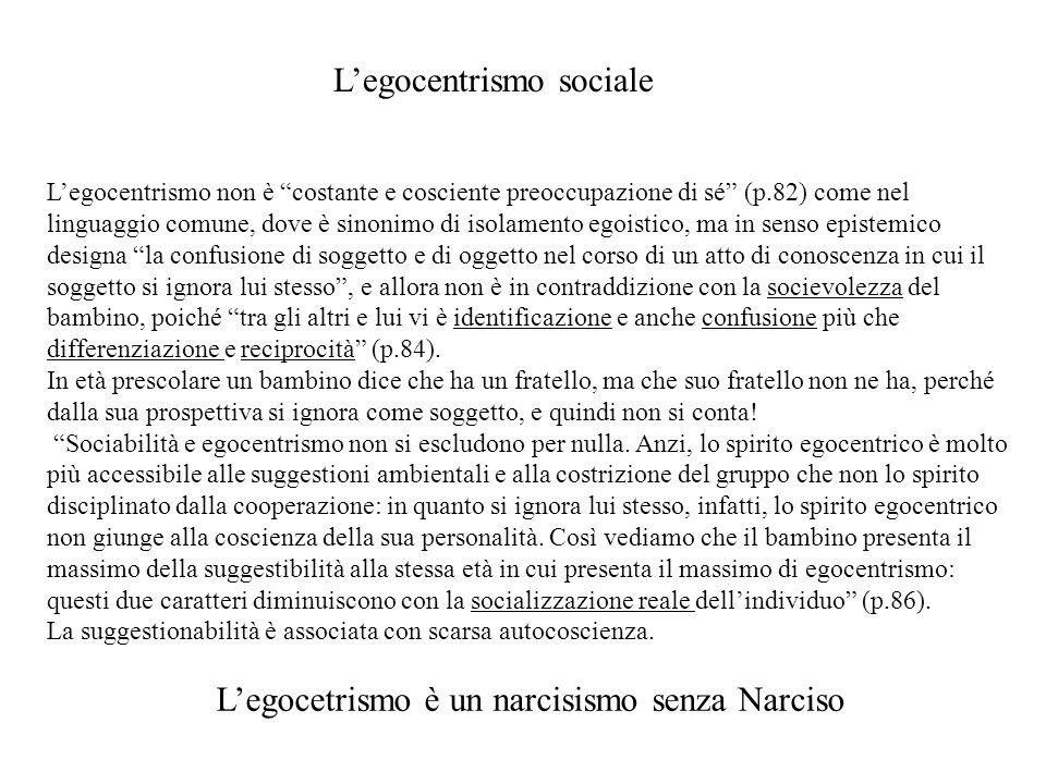 Legocentrismo non è costante e cosciente preoccupazione di sé (p.82) come nel linguaggio comune, dove è sinonimo di isolamento egoistico, ma in senso