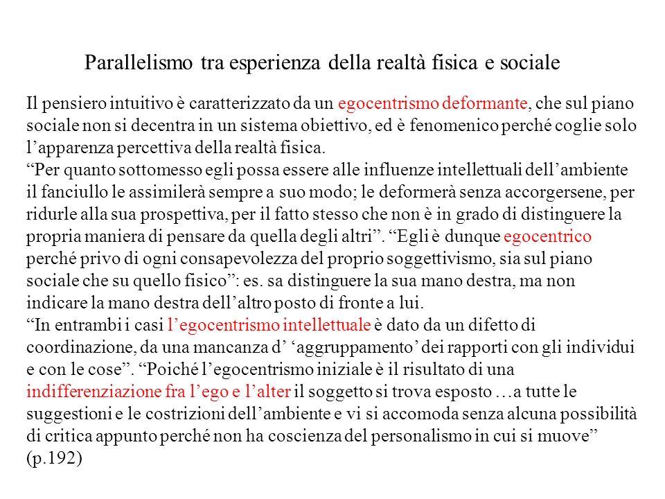 Il pensiero intuitivo è caratterizzato da un egocentrismo deformante, che sul piano sociale non si decentra in un sistema obiettivo, ed è fenomenico p