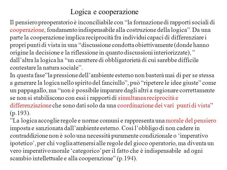 Il pensiero preoperatorio è inconciliabile con la formazione di rapporti sociali di cooperazione, fondamento indispensabile alla costruzione della log