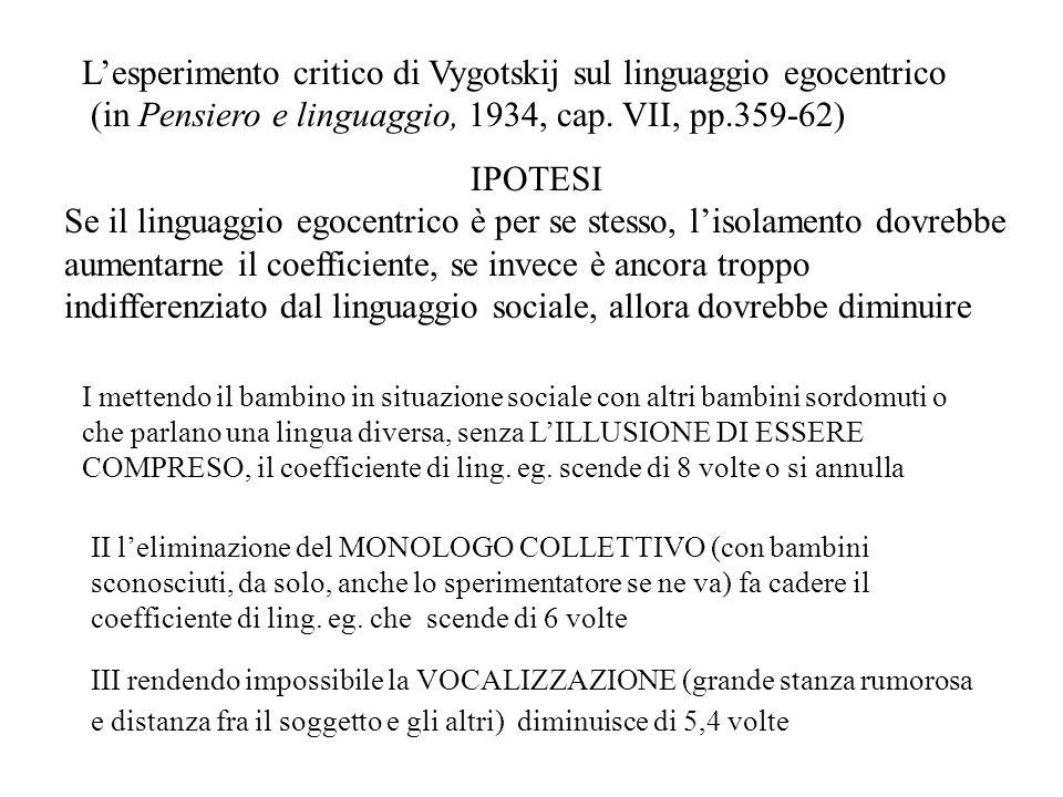 Secondo Piaget (1923) Il COEFFICIENTE di linguaggio egocentrico è la percentuale di espressioni ellittiche e predicative prodotte dal bambino sul totale della produzione verbale osservata e diminuisce con letà Le CARATTERISTICHE STRUTTURALI del linguaggio egocentrico (mancanza del soggetto, insufficienza di informazioni per risultare comprensibile ad un altro, accompagnamento di gesti) si accrescono tra i 3 e i 7 anni (risultati di Piaget, 1923) Secondo Vygotskij In questo arco di tempo dal LINGUAGGIO indifferenziato (per gli altri, sociale ma non sempre comunicativamente efficace) si differenziano il LINGUAGGIO EGOCENTRICO (per sé), transitorio, che in seguito perde la componente vocale diventando LINGUAGGIO INTERIORE, silenzioso e muto, mentre il LINGUAGGIO SOCIALIZZATO diviene più esplicito e consapevole La FUNZIONE del linguaggio egocentrico nellinfanzia è quella di favorire lorientamento mentale, la presa di coscienza, il superamento degli ostacoli, la riflessione e il pensiero, funzione svolta dal linguaggio interiore nelladulto Linguaggio egocentrico, interiore e socializzato