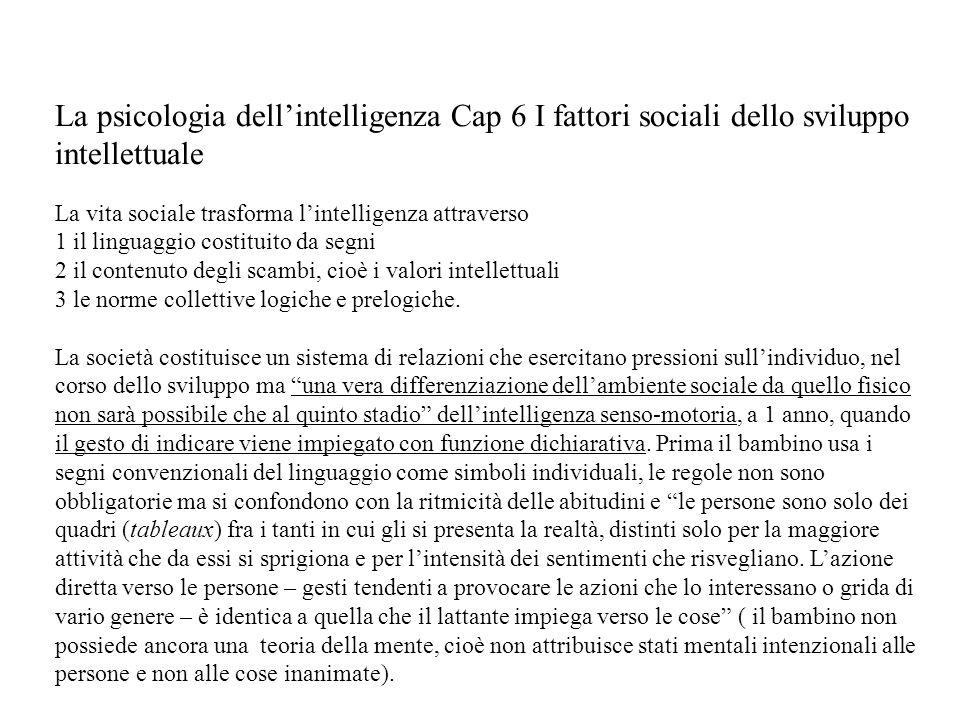 La psicologia dellintelligenza Cap 6 I fattori sociali dello sviluppo intellettuale La vita sociale trasforma lintelligenza attraverso 1 il linguaggio