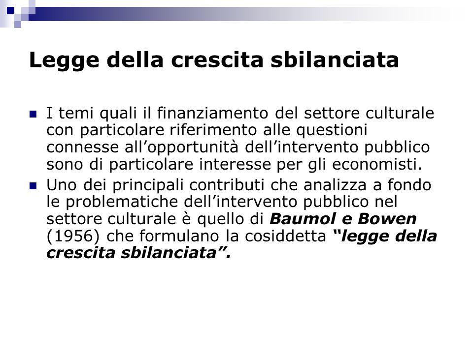 Legge della crescita sbilanciata I temi quali il finanziamento del settore culturale con particolare riferimento alle questioni connesse allopportunit