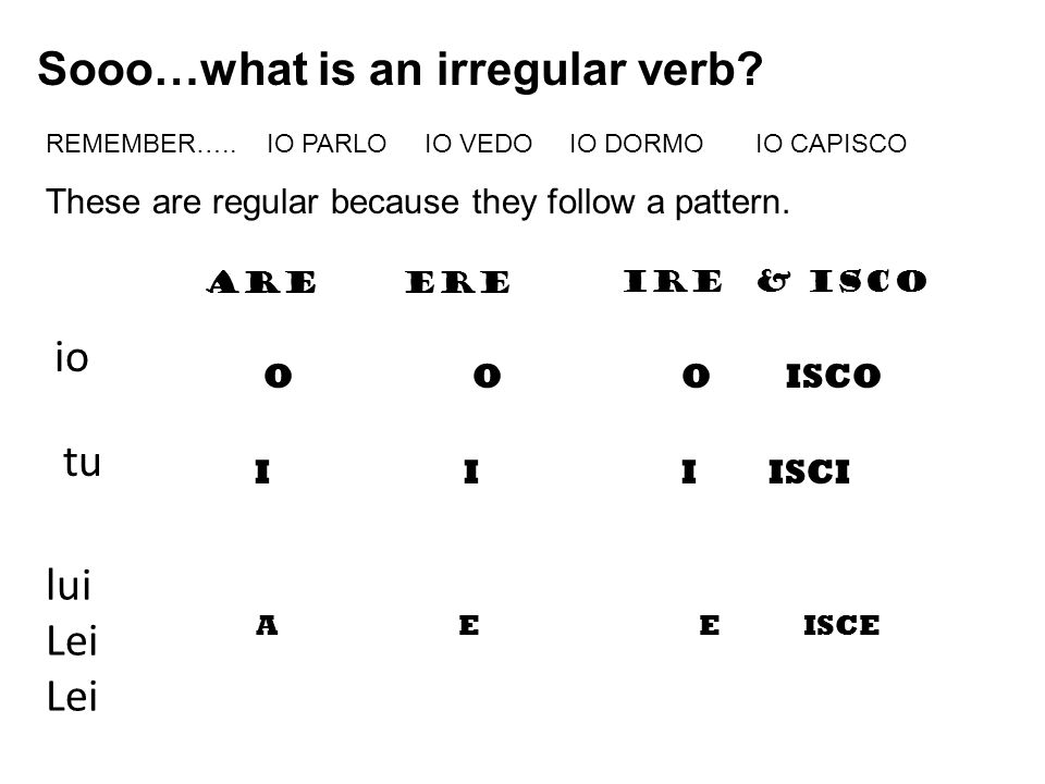 io lui Lei tu Sooo…what is an irregular verb? REMEMBER….. IO PARLO IO VEDO IO DORMO IO CAPISCO These are regular because they follow a pattern. AREERE