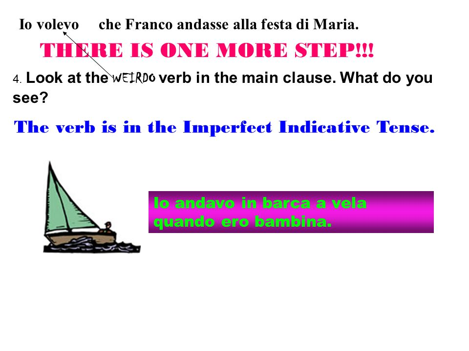 Io volevo che Franco andasse alla festa di Maria. 4. Look at the WEIRDO verb in the main clause. What do you see? THERE IS ONE MORE STEP!!! The verb i