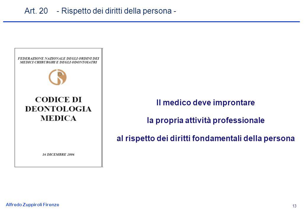 Alfredo Zuppiroli Firenze 13 Il medico deve improntare la propria attività professionale al rispetto dei diritti fondamentali della persona Art.