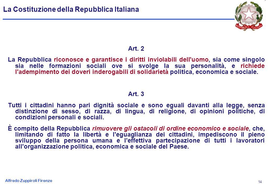 Alfredo Zuppiroli Firenze 14 La Costituzione della Repubblica Italiana Art.