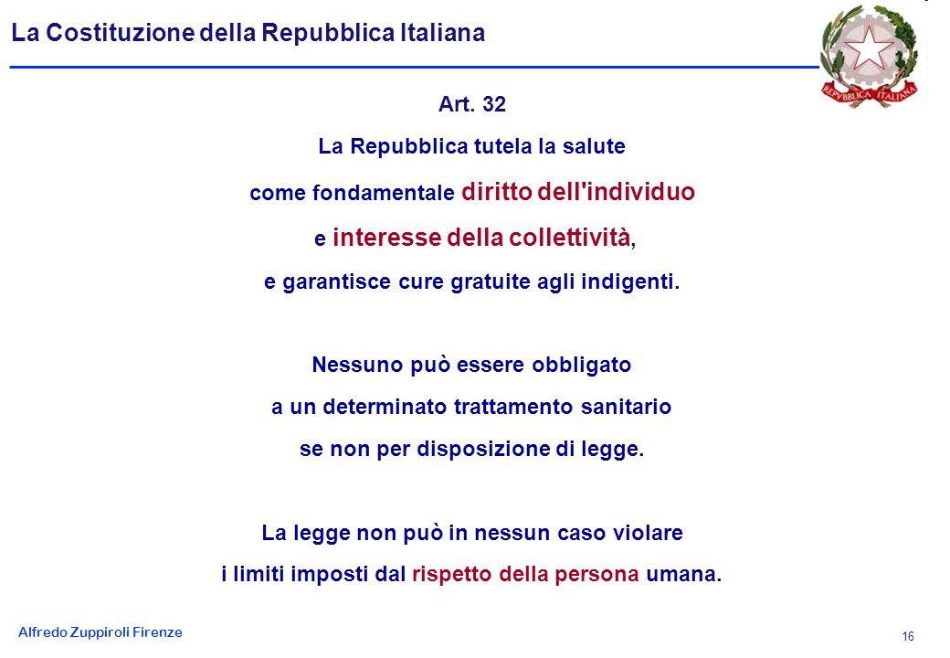 Alfredo Zuppiroli Firenze 16 La Costituzione della Repubblica Italiana Art.