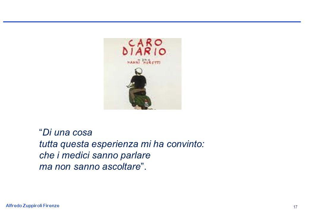 Alfredo Zuppiroli Firenze 17 Di una cosa tutta questa esperienza mi ha convinto: che i medici sanno parlare ma non sanno ascoltare.