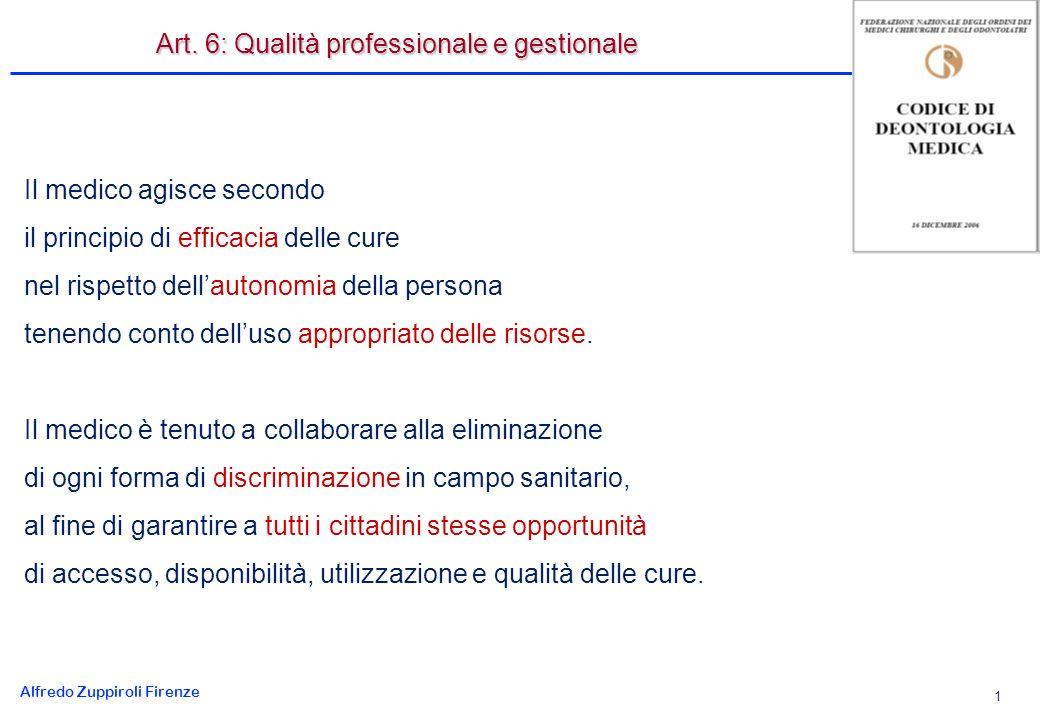 Alfredo Zuppiroli Firenze 1 Il medico agisce secondo il principio di efficacia delle cure nel rispetto dellautonomia della persona tenendo conto delluso appropriato delle risorse.