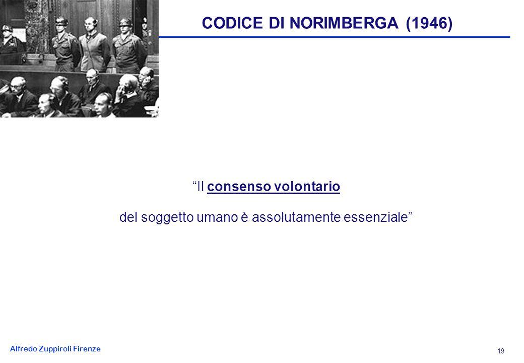Alfredo Zuppiroli Firenze 19 CODICE DI NORIMBERGA (1946) Il consenso volontario del soggetto umano è assolutamente essenziale