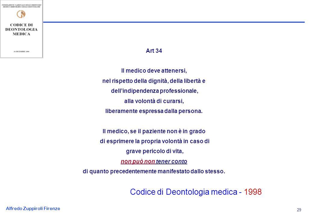 Alfredo Zuppiroli Firenze 29 Art 34 Il medico deve attenersi, nel rispetto della dignità, della libertà e dellindipendenza professionale, alla volontà di curarsi, liberamente espressa dalla persona.
