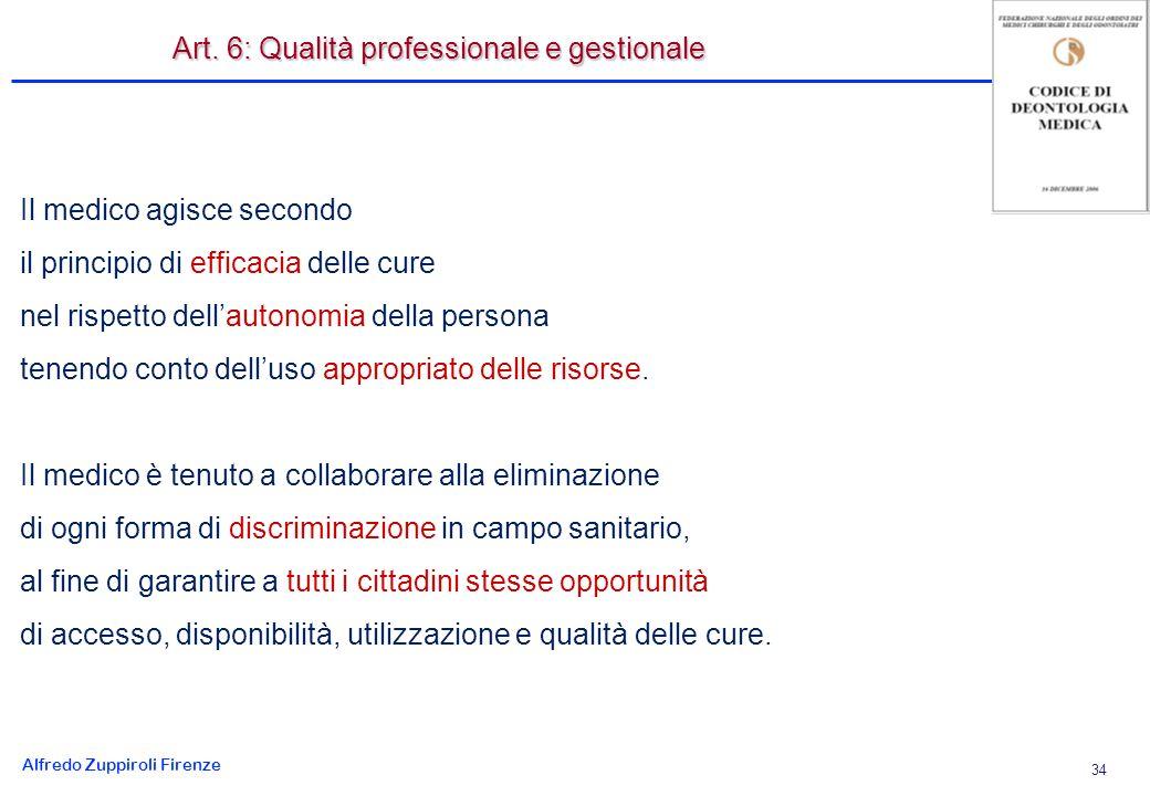 Alfredo Zuppiroli Firenze 34 Il medico agisce secondo il principio di efficacia delle cure nel rispetto dellautonomia della persona tenendo conto delluso appropriato delle risorse.