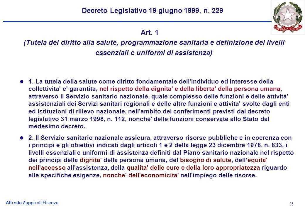 Alfredo Zuppiroli Firenze 35 Decreto Legislativo 19 giugno 1999, n.