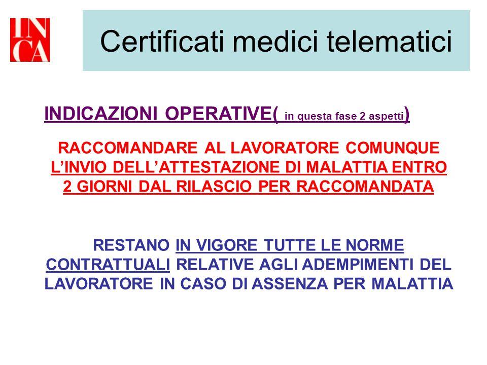 Certificati medici telematici INDICAZIONI OPERATIVE( in questa fase 2 aspetti ) RACCOMANDARE AL LAVORATORE COMUNQUE LINVIO DELLATTESTAZIONE DI MALATTI