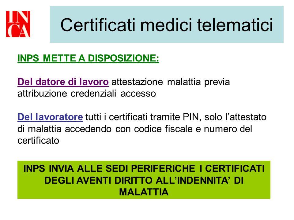 Certificati medici telematici INPS METTE A DISPOSIZIONE: Del datore di lavoro attestazione malattia previa attribuzione credenziali accesso Del lavora