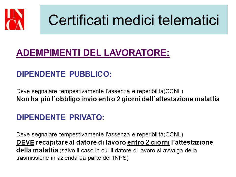 Certificati medici telematici ADEMPIMENTI DEL LAVORATORE: DIPENDENTE PUBBLICO: Deve segnalare tempestivamente lassenza e reperibilità(CCNL) Non ha più