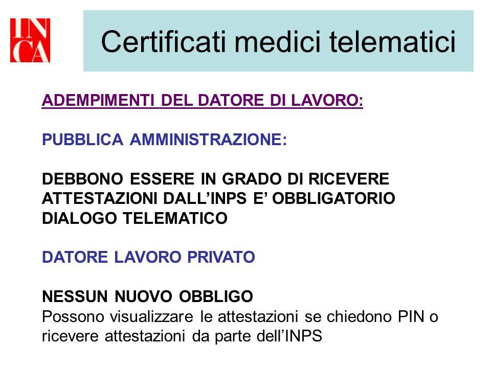 Certificati medici telematici ADEMPIMENTI DEL DATORE DI LAVORO: PUBBLICA AMMINISTRAZIONE: DEBBONO ESSERE IN GRADO DI RICEVERE ATTESTAZIONI DALLINPS E