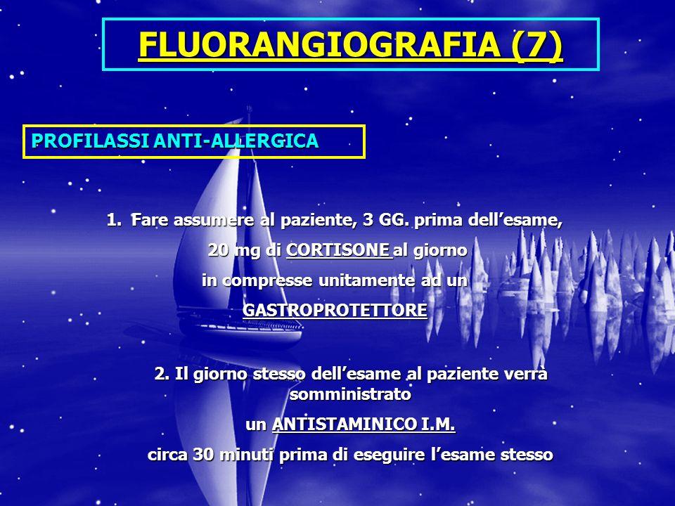 FLUORANGIOGRAFIA (7) PROFILASSI ANTI-ALLERGICA 1.Fare assumere al paziente, 3 GG. prima dellesame, 20 mg di CORTISONE al giorno 20 mg di CORTISONE al