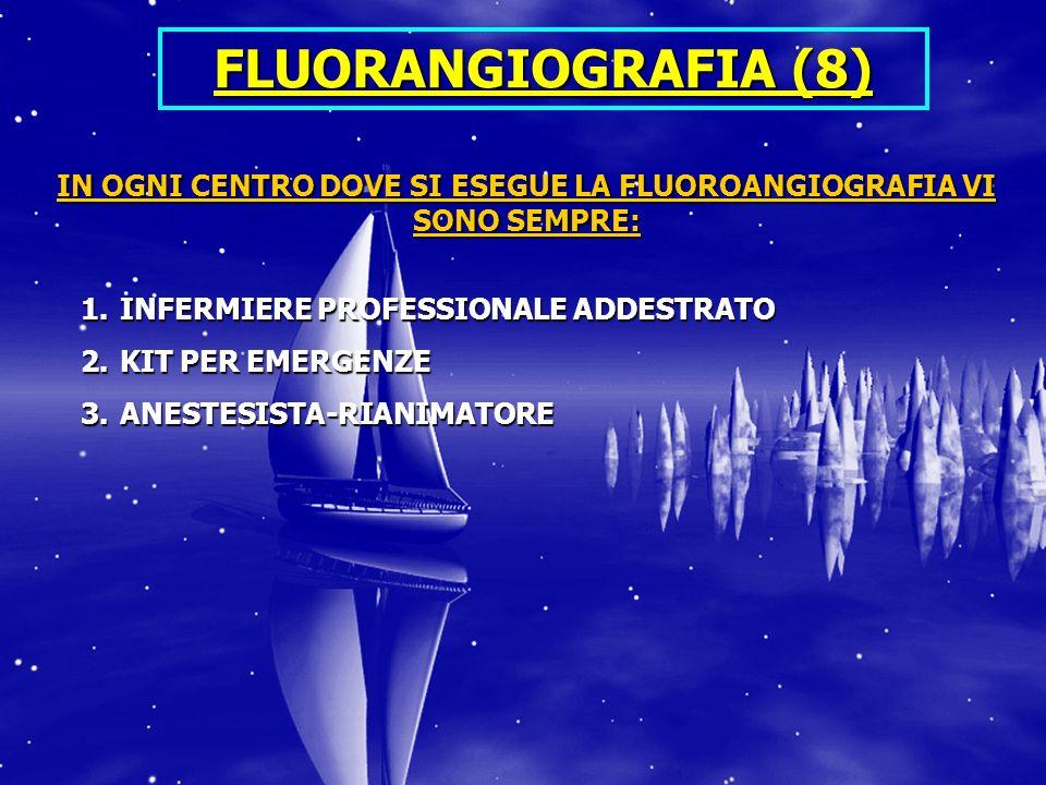 FLUORANGIOGRAFIA (8) IN OGNI CENTRO DOVE SI ESEGUE LA FLUOROANGIOGRAFIA VI SONO SEMPRE: 1.INFERMIERE PROFESSIONALE ADDESTRATO 2.KIT PER EMERGENZE 3.ANESTESISTA-RIANIMATORE