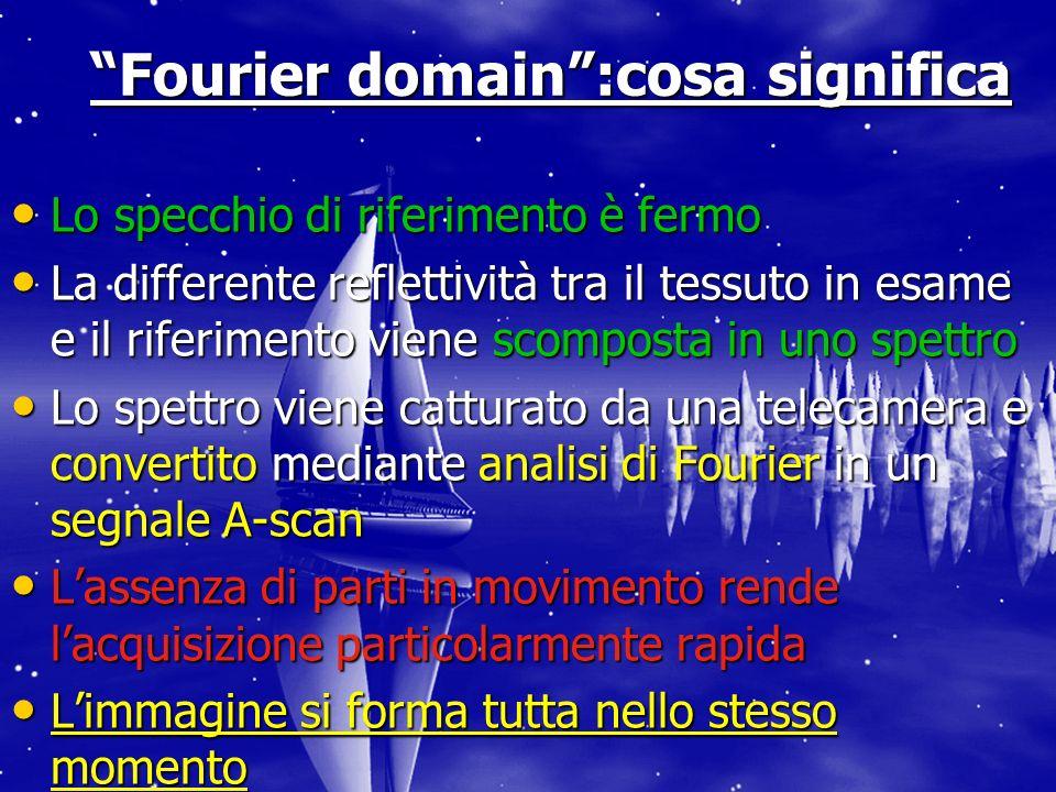 Fourier domain:cosa significa Lo specchio di riferimento è fermo Lo specchio di riferimento è fermo La differente reflettività tra il tessuto in esame