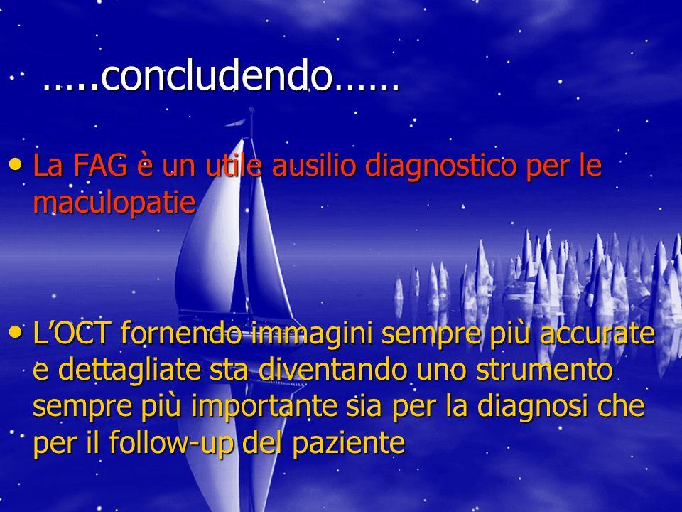 …..concludendo…… La FAG è un utile ausilio diagnostico per le maculopatie La FAG è un utile ausilio diagnostico per le maculopatie LOCT fornendo immag