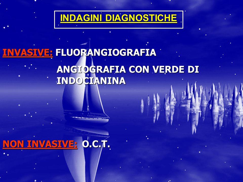 INDAGINI DIAGNOSTICHE INVASIVE: FLUORANGIOGRAFIA ANGIOGRAFIA CON VERDE DI INDOCIANINA ANGIOGRAFIA CON VERDE DI INDOCIANINA NON INVASIVE: O.C.T.