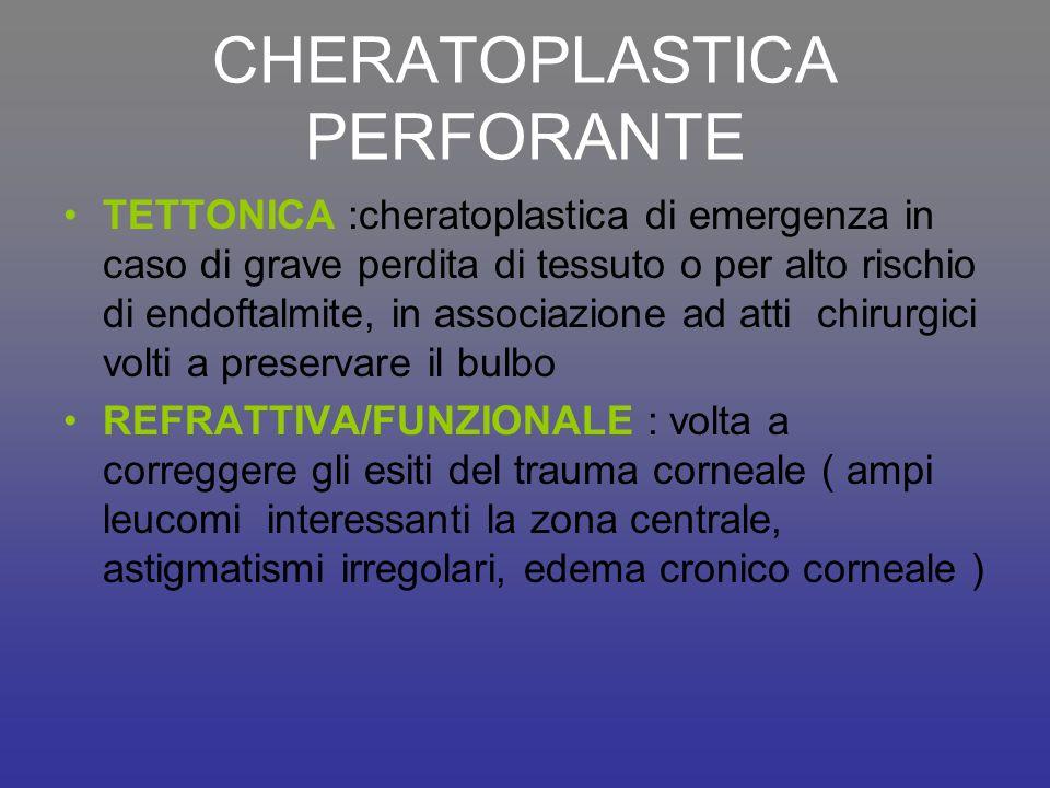 CHERATOPLASTICA PERFORANTE TETTONICA :cheratoplastica di emergenza in caso di grave perdita di tessuto o per alto rischio di endoftalmite, in associaz