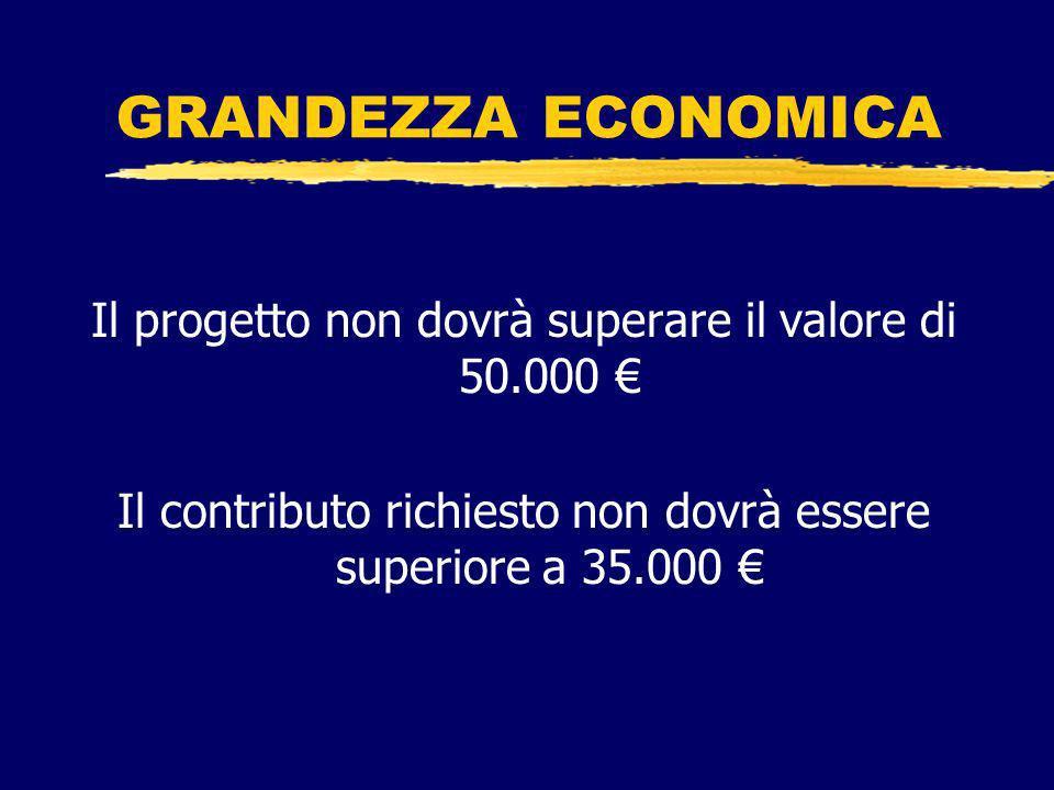 GRANDEZZA ECONOMICA Il progetto non dovrà superare il valore di 50.000 Il contributo richiesto non dovrà essere superiore a 35.000