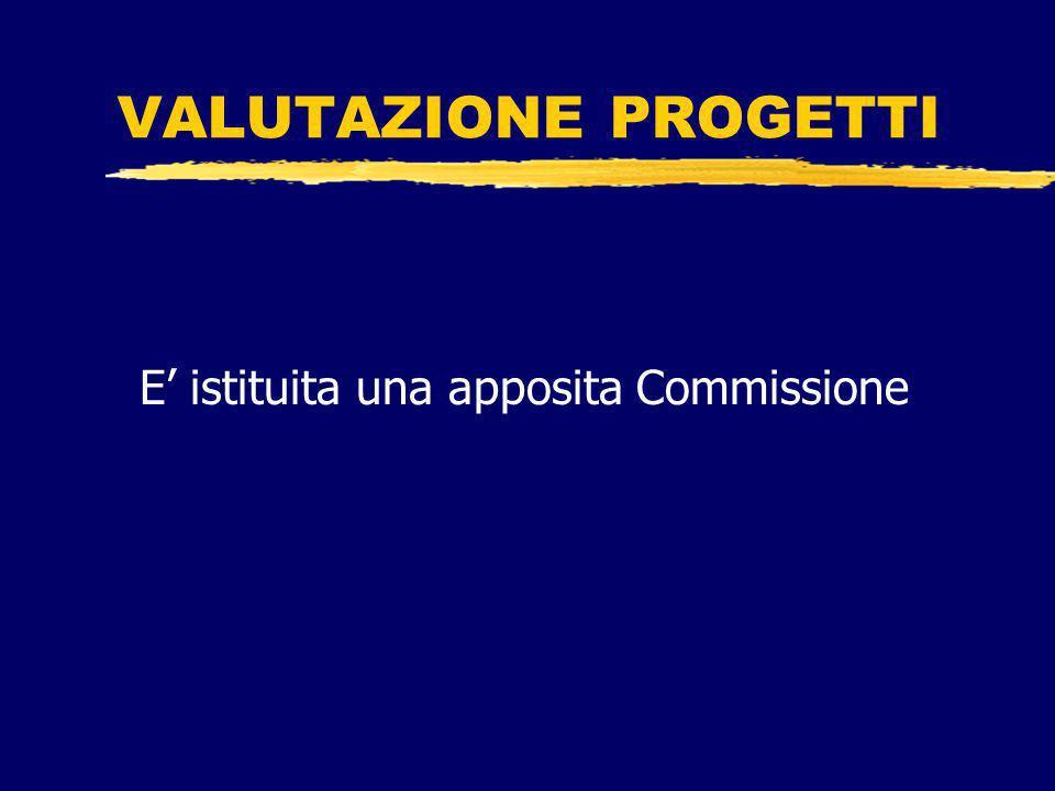 VALUTAZIONE PROGETTI E istituita una apposita Commissione