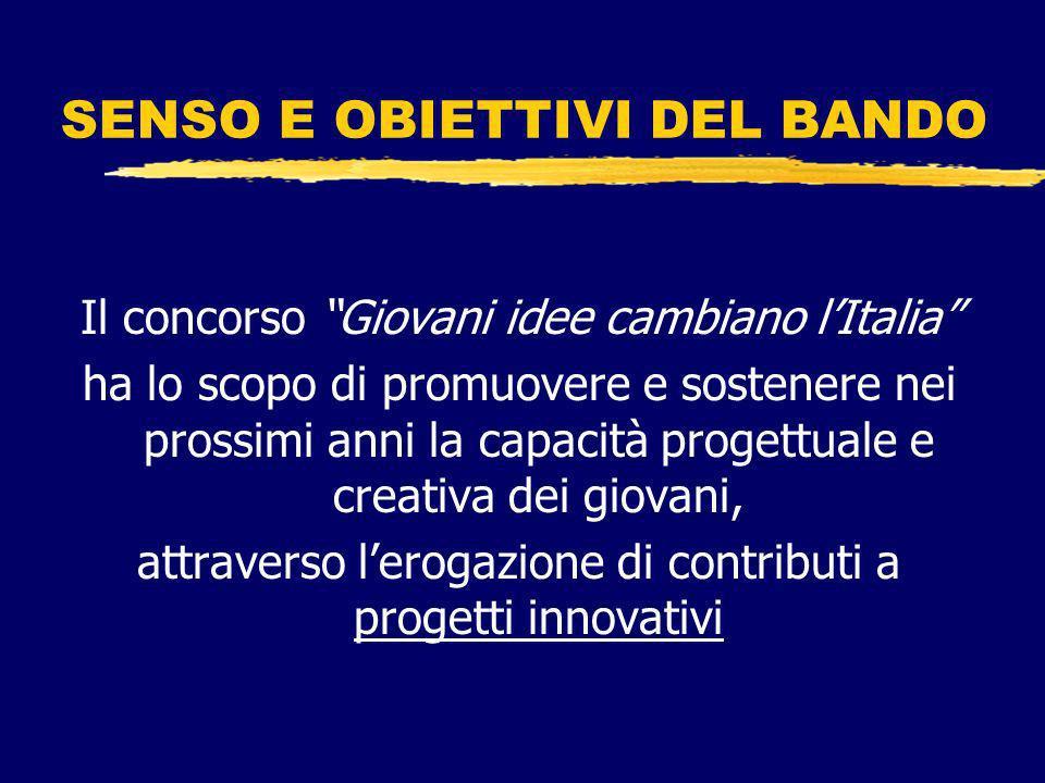 SENSO E OBIETTIVI DEL BANDO Il concorso Giovani idee cambiano lItalia ha lo scopo di promuovere e sostenere nei prossimi anni la capacità progettuale e creativa dei giovani, attraverso lerogazione di contributi a progetti innovativi
